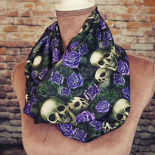 Skulls and purple roses infinity scarf