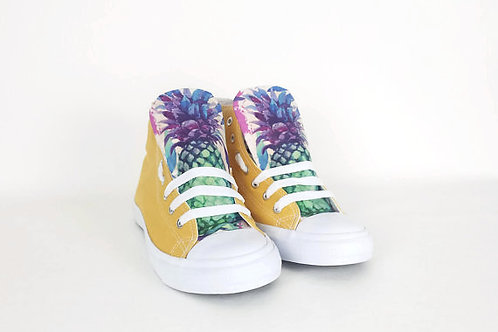 Pineapple high top sneakers, customised women shoes