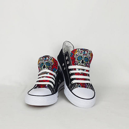 Day of the Dead Shoes, Black and Red Custom Pumps