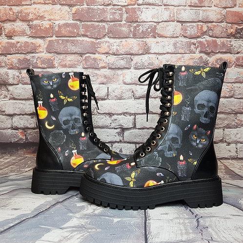 Dark Witchy skull platform boots