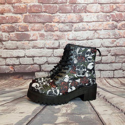 Skulls and roses chunky ankle boots