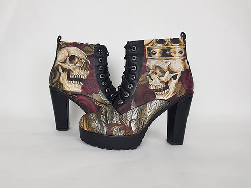 Skull tattoo custom boots, women chunky heel ankle boots