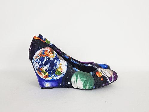 Solar system planets shoes, galaxy nebula custom pumps