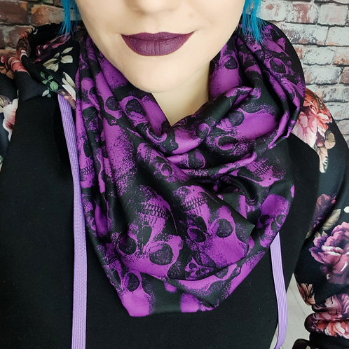 Purple skulls infinity scarf