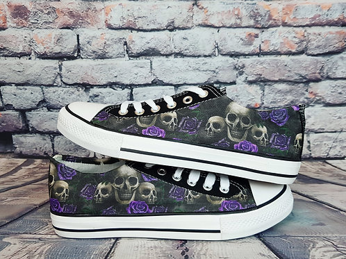 Skulls and roses shoes, custom women pumps