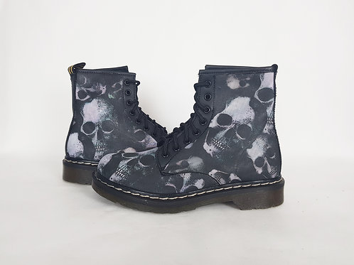 Gothic skulls custom boots, women combat ankle boots