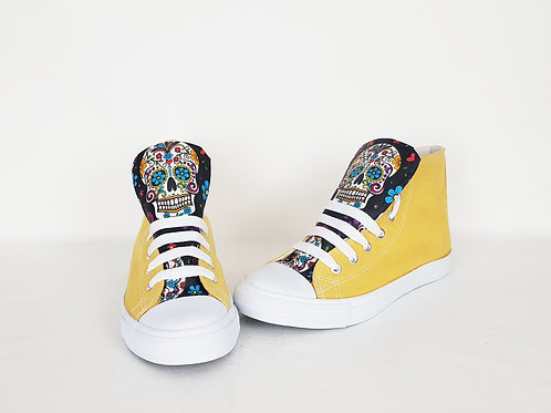Yellow Day of the Dead shoes, custom women high tops