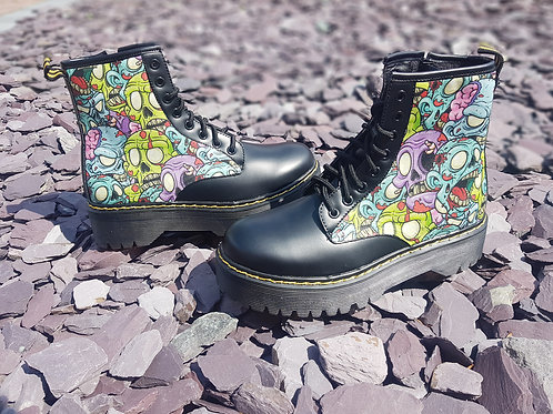 Zombie boots, funky zombie custom shoes