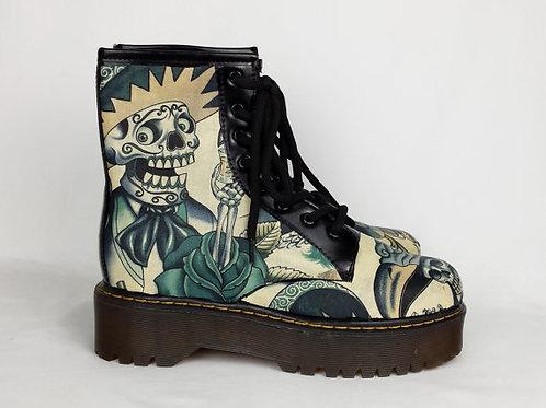 Indigo Sugar Skull Custom Boots