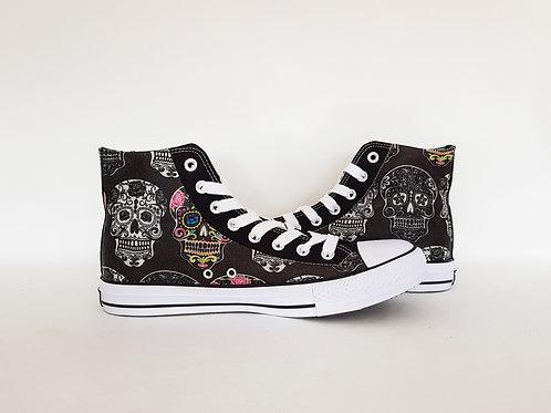 Day of the dead men's shoes, skull custom sneakers, high tops