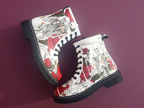 Skeleton and roses white boots, skull wedding ankle boots