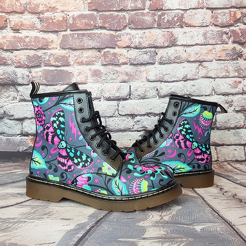 Moth and Venus flytrap print women ankle boots