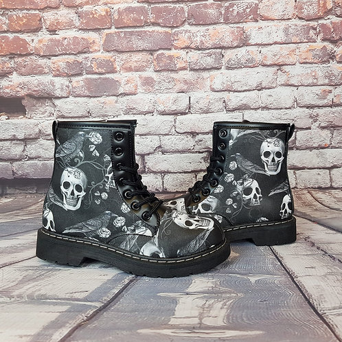 Gothic raven ankle boots