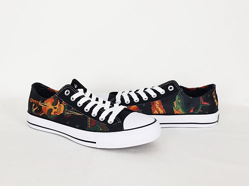 Tattoo style men's shoes, tattoo skull custom sneakers, gift for him