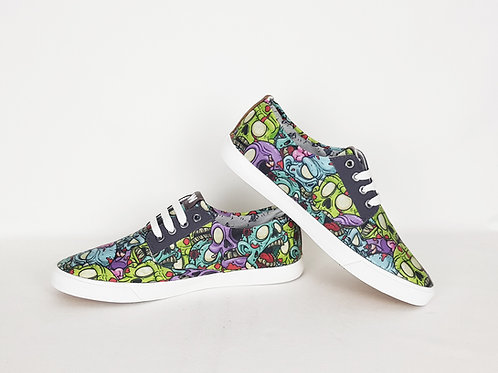Zombie shoes, custom men plimsolls, gift for men