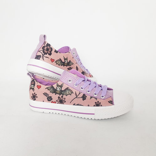 Bats print custom shoes, pastel goth sneakers