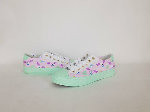 Kawaii creepy cute mint shoes, custom women pumps