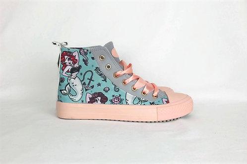 Rockabilly Mermaid Custom shoes, tattoo nautical women trainers