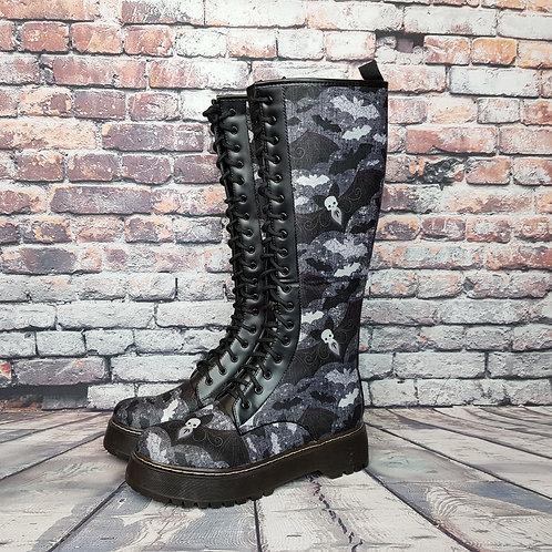 Bats print knee high boots, alternative footwear