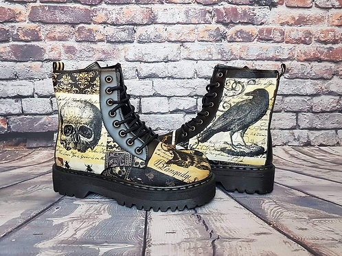 Crows and skulls custom gothic boots