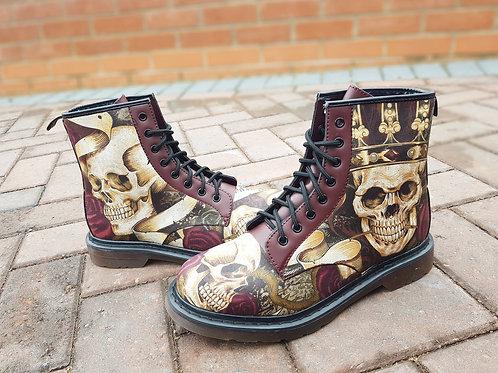 Steampunk skull men combat boots