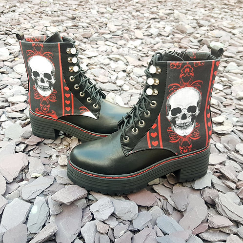 Platform skull boots, black and red ankle boots