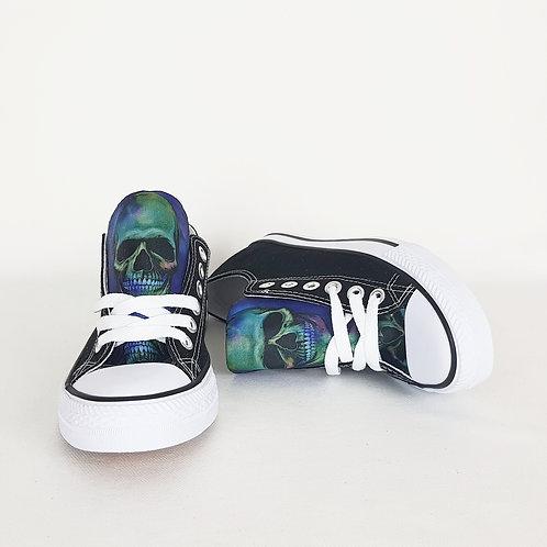 Purple skull black sneakers, customised women shoes
