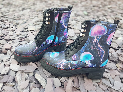 Jellyfish print women platform boots