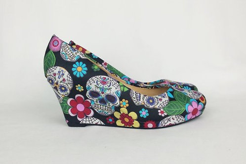 Sugar skull custom mid wedge shoes