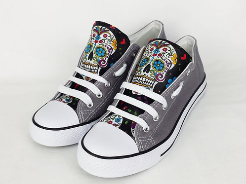 Day of the Dead Shoes, Grey and Black Custom Pumps