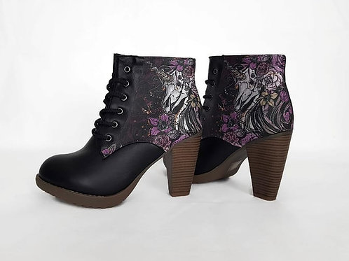 Unicorn skull custom boots, steampunk women ankle boots