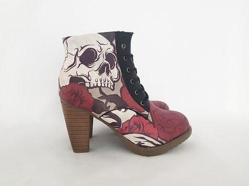 Skulls and roses women platform ankle boots