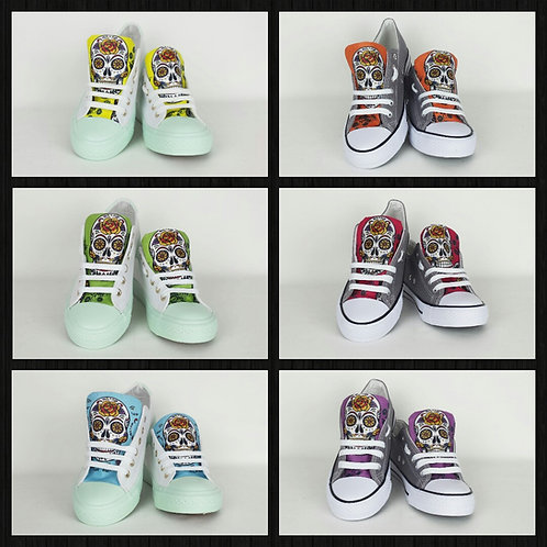 Day of the Dead rainbow sneakers, customised women shoes, choose your own
