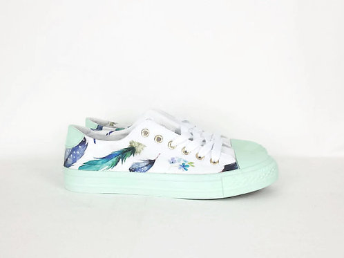 Bohemian feather sneakers, customised women shoes