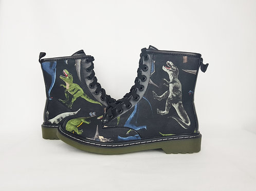 Dinosaur custom boots, women combat ankle boots