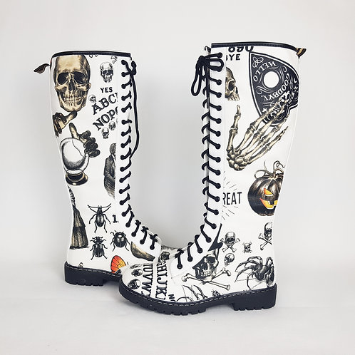 Halloween boots, customised knee high alternative boots