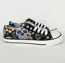 custom converse, sugar skull shoes, day of the dead shoes