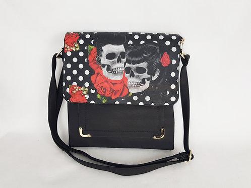 Rockabilly skulls women's shoulder bag