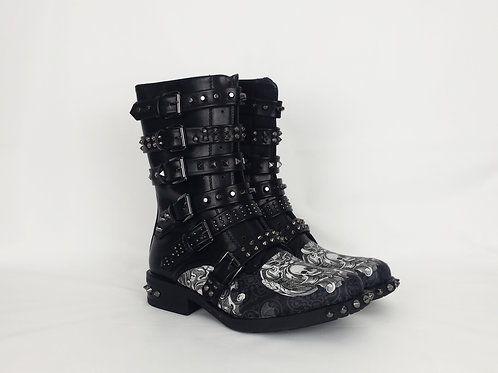 Gothic skull boots, custom made women shoes
