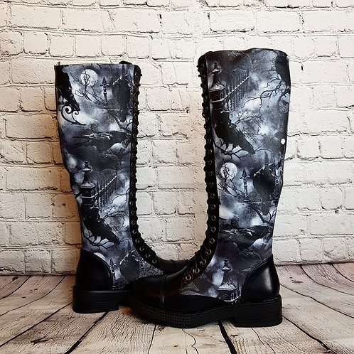 Raven knee high boots, customised alternative boots