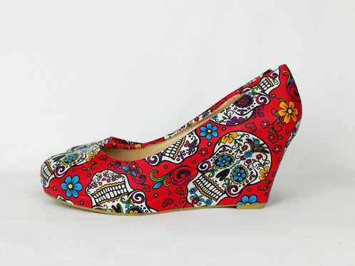 Day of the Dead custom wedge shoes