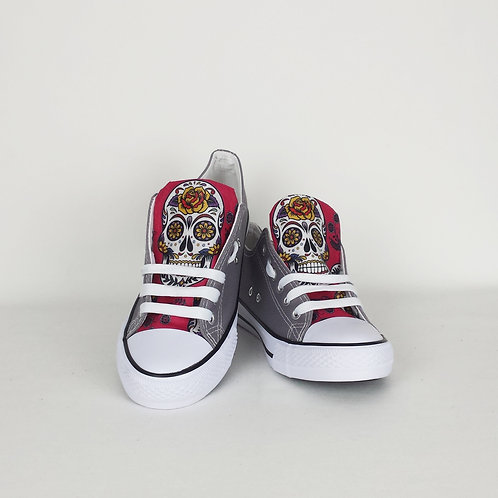 Red Day of the Dead sneakers, customised women shoes