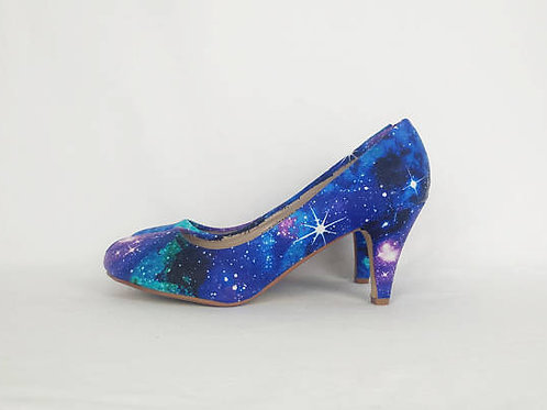Galaxy custom made heels, purple nebula custom shoes