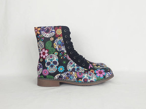 Sugar skull shoes, day of the dead custom women boots