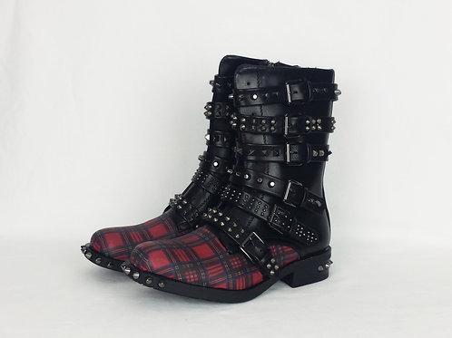 Tartan punk boots, custom made women shoes
