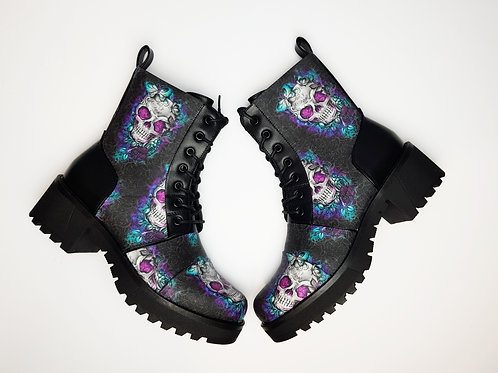 Butterfly Skull Ankle Boots