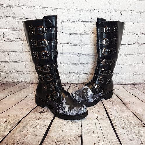 Ravens print buckle knee high boots
