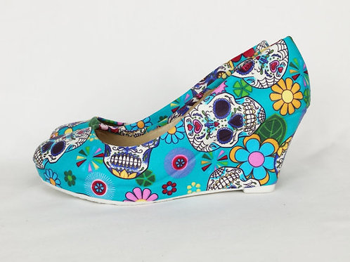 Blue sugar skull custom wedge shoes