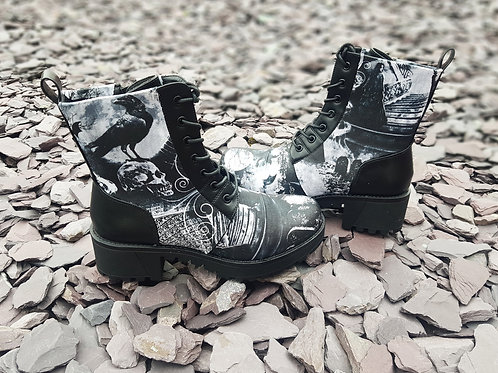 Gothic skull and crow boots, women platform ankle boots