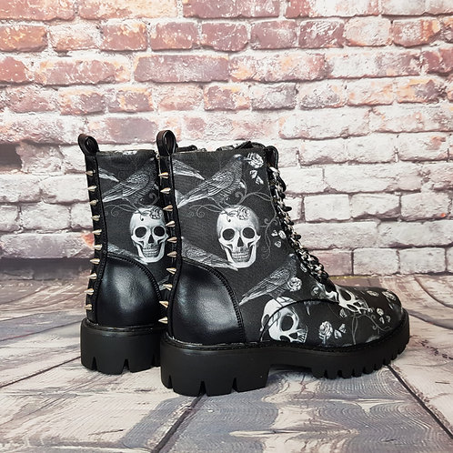 Raven and skull spikes chunky platform boots